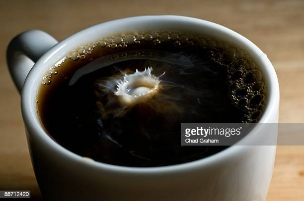 Milk dropping in coffee