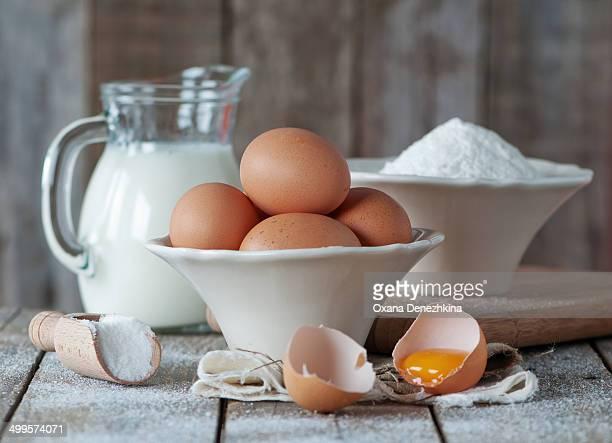 Milk, eggs, sugar and flour