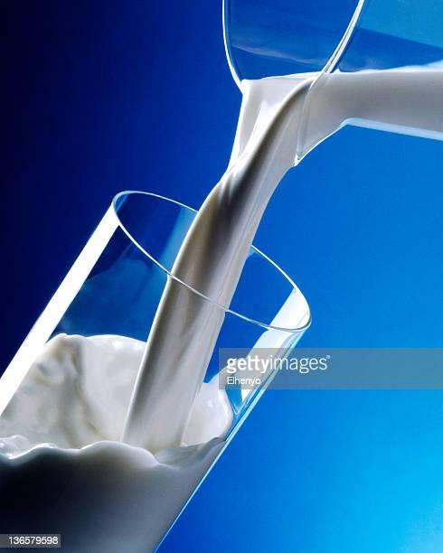ミルクをグラスに注ぐ