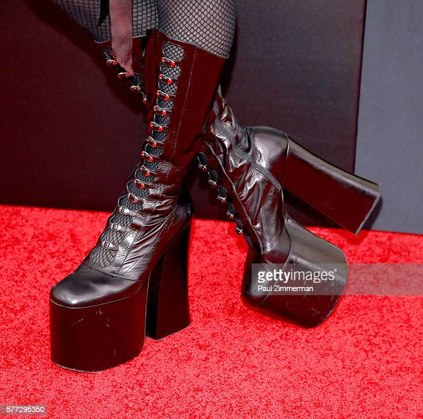Milk Queen boot detail at 'Absolutely Fabulous The Movie' New York Premiere at SVA Theater on July 18 2016 in New York City