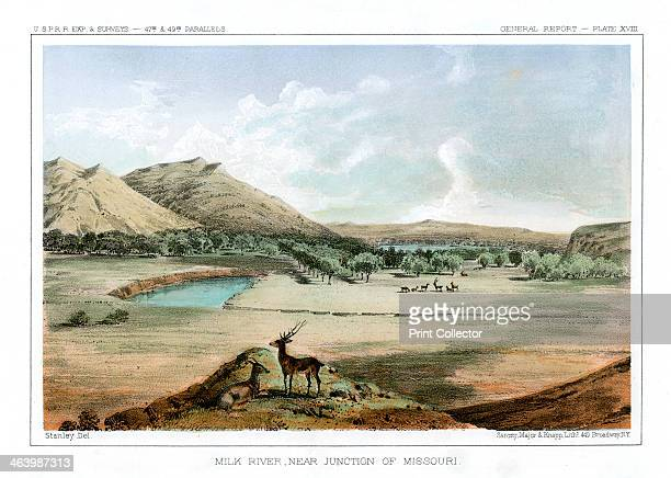 'Milk River Near Junction of Missouri' 1856 View of the Milk River near the junction of the Missouri River in Montana on August 18 1853 Print from...