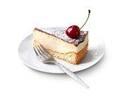 Milk souffle (bird's milk) cake with fresh cherry isolated on white background