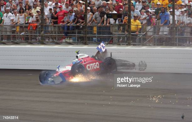 Milka Duno driver of the CITGO Racing SAMAX Motorsports Dallara Honda crashed into the wall during the IRL IndyCar Series 91st running of the...