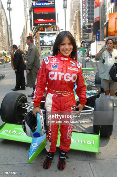 Milka Duno is in Times Square where she joined fellow Indy car drivers to promote the upcoming Indianapolis 500 race