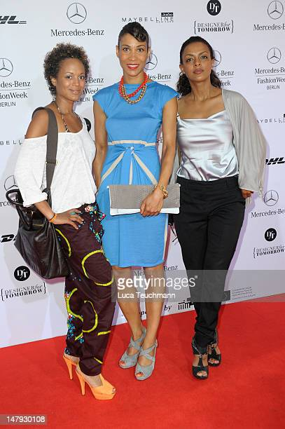 Milka Loff Fernandes Annabelle Mandeng and Dennenesch Zoude arrive for the Malaikaraiss Show during MercedesBenz Fashion Week Spring/Summer 2013 on...
