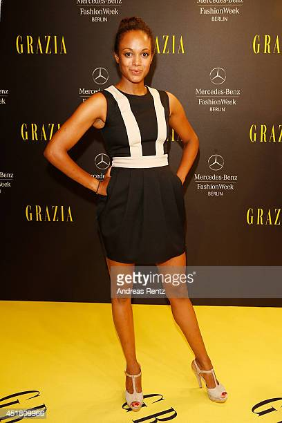 Milka Loff Fernandes arrives for the Opening Night by Grazia fashion show during the MercedesBenz Fashion Week Spring/Summer 2015 at Erika Hess...