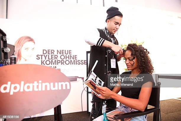 Milka Loff Fernandes arrives for the Platform Fashion Selected show during Platform Fashion July 2015 at Areal Boehler on July 25 2015 in Duesseldorf...