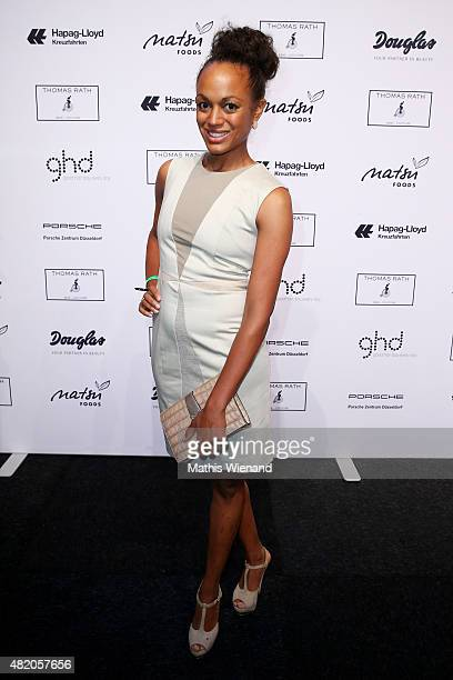 Milka Loff Fernandes arrives for the Thomas Rath show during Platform Fashion July 2015 at Areal Boehler on July 26 2015 in Duesseldorf Germany