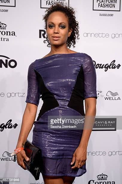 Milka Loff Fernandes poses prior to the Annette Goertz Show during Platform Fashion Duesseldorf on July 26 2014 in Duesseldorf Germany
