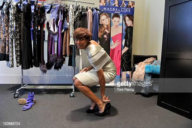 Milka Loff Fernandes seen backstage at the Guido Maria Kretschmer Show during the Mercedes Benz Fashion Week Spring/Summer 2011 at Bebelplatz on July...