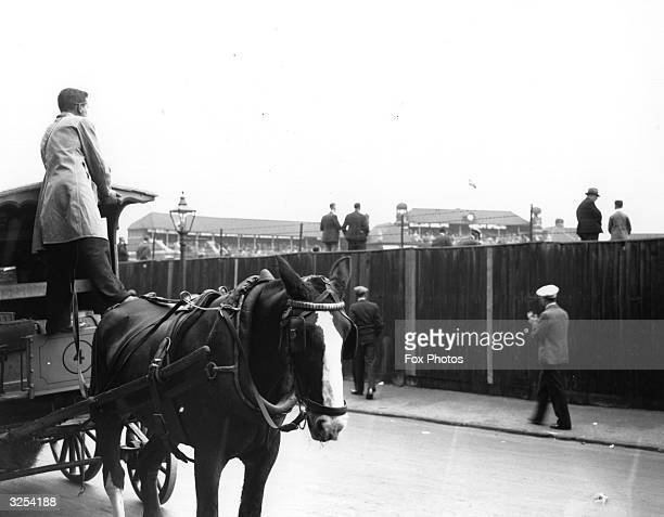 A milkman stands on his cart to view the Test Match at the Oval London