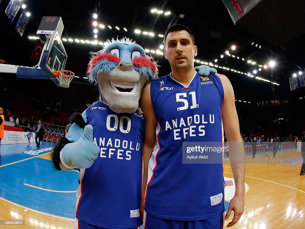 Milko Bjelica #51 of Anadolu Efes Istanbul celebrates victory during the Turkish Airlines Euroleague Basketball Top 16 Date 11 game between Anadolu...