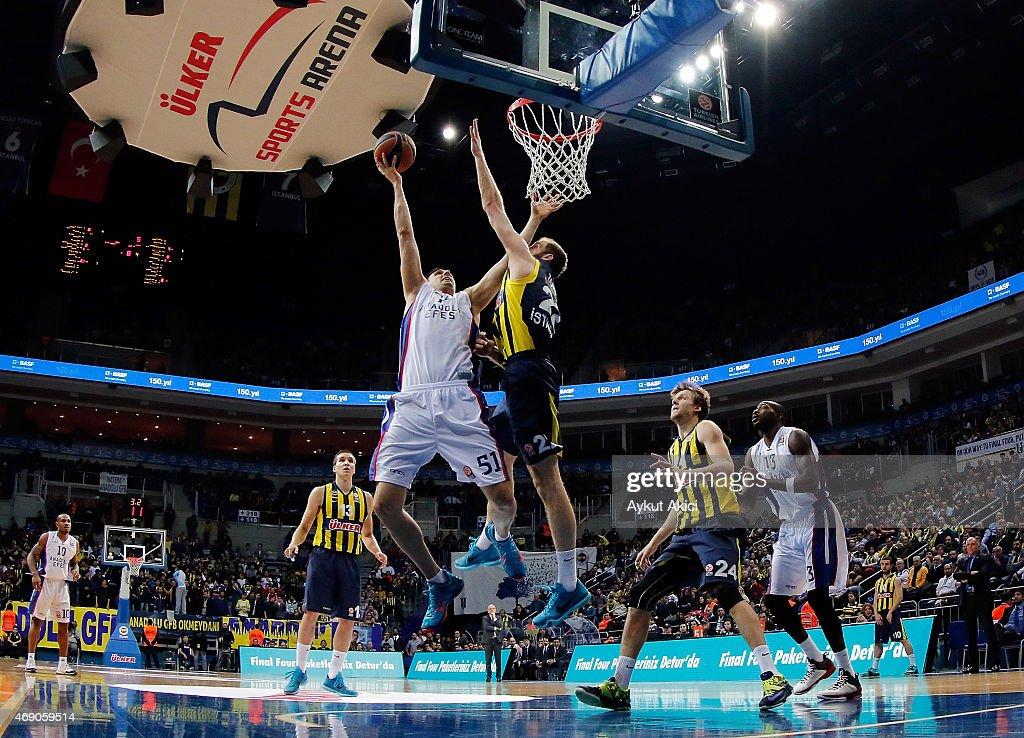 Milko Bjelica #51 of Anadolu Efes Istanbul in action during the Turkish Airlines Euroleague Basketball Top 16 Date 14 game between Fenerbahce Ulker...