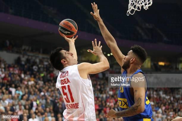 Milko Bjelica #51 of Crvena Zvezda mts Belgrade Jonah Bolden #43 of Maccabi Fox Tel Aviv during the 2017/2018 Turkish Airlines EuroLeague Regular...