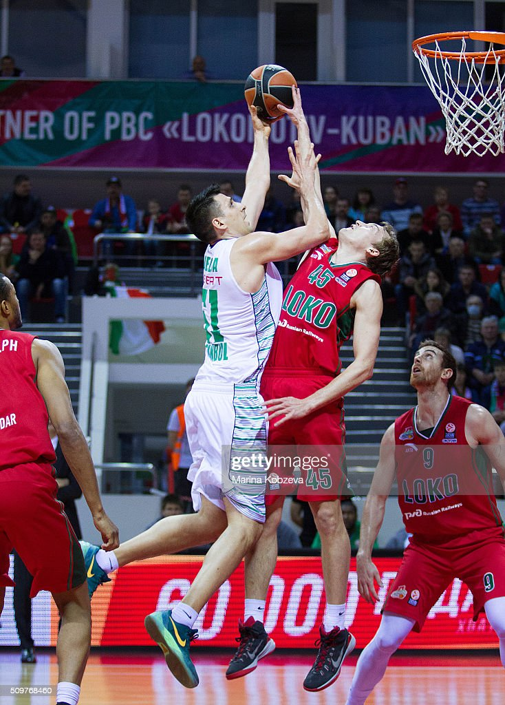 <a gi-track='captionPersonalityLinkClicked' href=/galleries/search?phrase=Milko+Bjelica&family=editorial&specificpeople=5617486 ng-click='$event.stopPropagation()'>Milko Bjelica</a>, #51 of Darussafaka Dogus Istanbul competes with Ryan Broekhoff, #45 of Lokomotiv Kuban Krasnodar during the Turkish Airlines Euroleague Basketball Top 16 Round 7 game between Lokomotiv Kuban Krasnodar v Darussafaka Dogus Istanbul at Basket Hall on February 12, 2016 in Krasnodar, Russia.