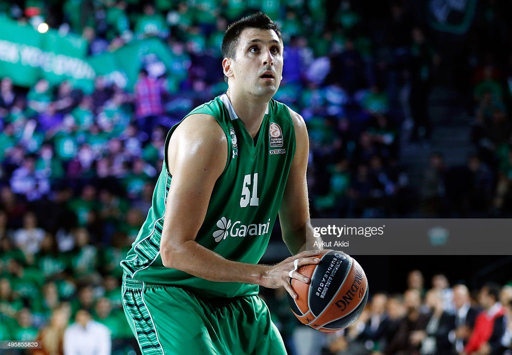 <a gi-track='captionPersonalityLinkClicked' href=/galleries/search?phrase=Milko+Bjelica&family=editorial&specificpeople=5617486 ng-click='$event.stopPropagation()'>Milko Bjelica</a>, #51 of Darussafaka Dogus Istanbul in action during the Turkish Airlines Euroleague Basketball Regular Season date 4 game between Darussafaka Dogus Istanbul v CSKA Moscow at Volkswagen Arena on November 5, 2015 in Istanbul, Turkey.