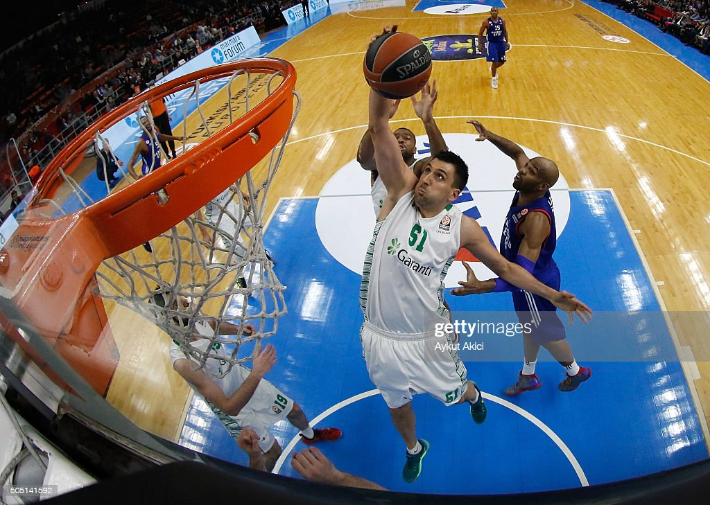 <a gi-track='captionPersonalityLinkClicked' href=/galleries/search?phrase=Milko+Bjelica&family=editorial&specificpeople=5617486 ng-click='$event.stopPropagation()'>Milko Bjelica</a>, #51 of Darussafaka Dogus Istanbul in action during the Turkish Airlines Euroleague Basketball Top 16 Round 3 game between Anadolu Efes Istanbul v Darussafaka Dogus Istanbul at Abdi Ipekci Arena on January 15, 2016 in Istanbul, Turkey.