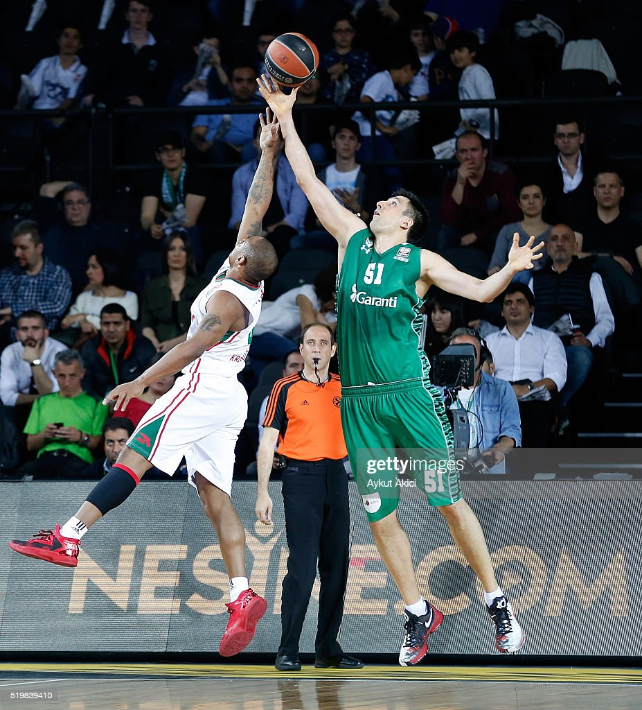 <a gi-track='captionPersonalityLinkClicked' href=/galleries/search?phrase=Milko+Bjelica&family=editorial&specificpeople=5617486 ng-click='$event.stopPropagation()'>Milko Bjelica</a>, #51 of Darussafaka Dogus Istanbul in action during the 2015-2016 Turkish Airlines Euroleague Basketball Top 16 Round 14 game between Darussafaka Dogus Istanbul v Lokomotiv Kuban Krasnodar at Volkswagen Arena on April 8, 2016 in Istanbul, Turkey.