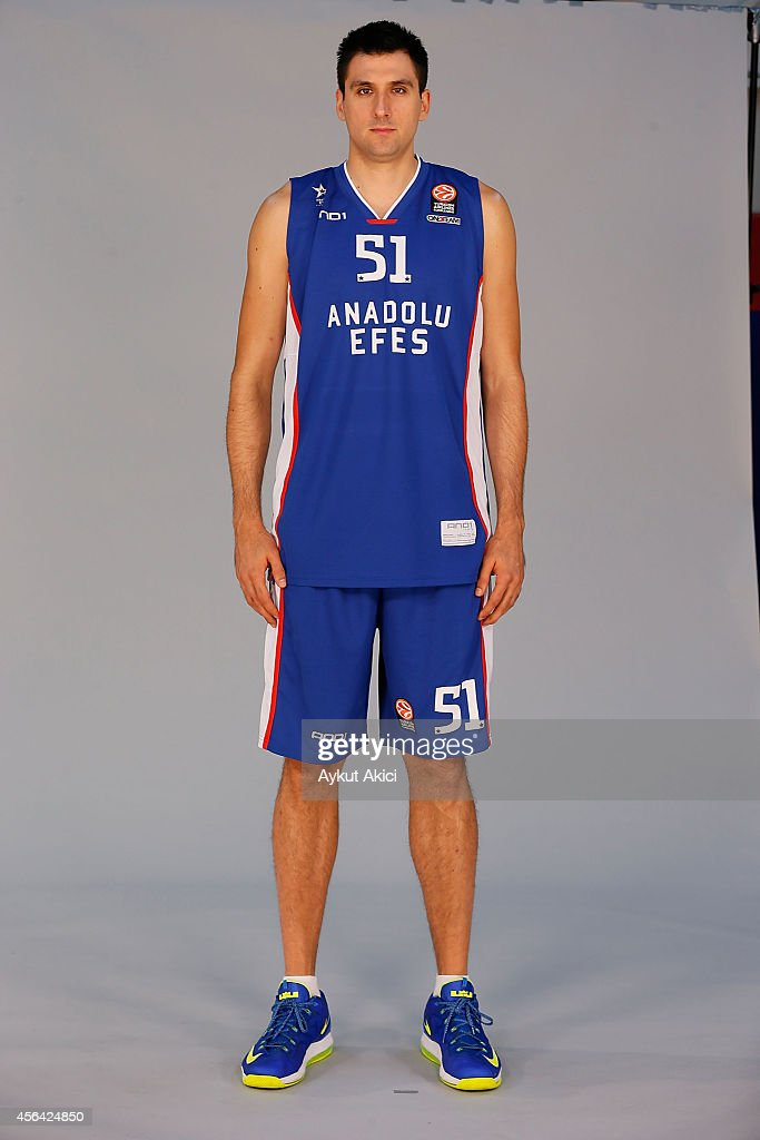 <a gi-track='captionPersonalityLinkClicked' href=/galleries/search?phrase=Milko+Bjelica&family=editorial&specificpeople=5617486 ng-click='$event.stopPropagation()'>Milko Bjelica</a> #51 poses during the Anadolu Efes 2014/2015 Turkish Airlines Euroleague Basketball Media Day at Abdi Ipekci Arena on September 28, 2014 in Istanbul, Turkey.