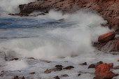 Splashing over rocks.