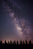 Milky Way above a row of trees.