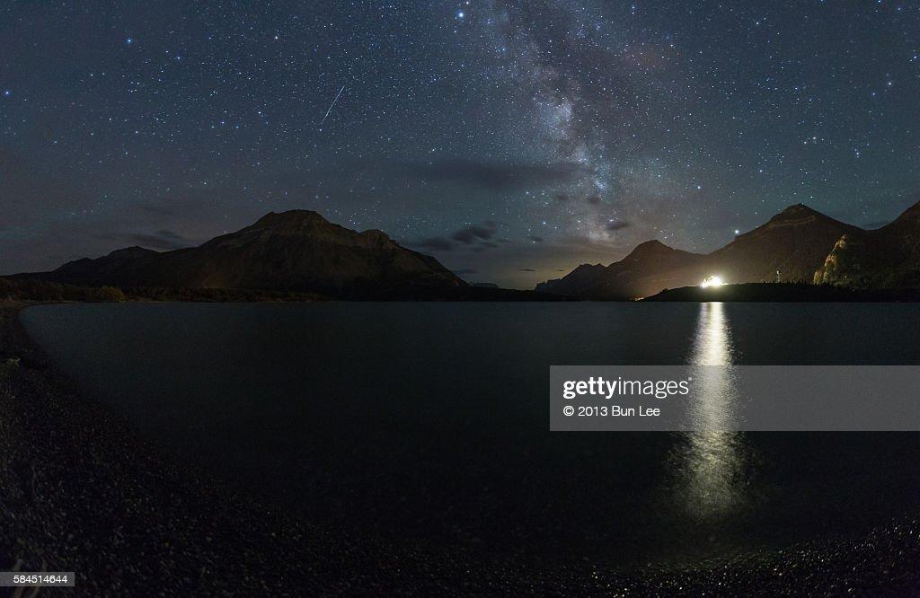 Milky way above Waterton Lake