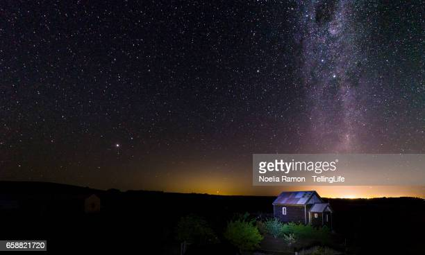 Milky Way, an old church and the night sky at a farm in Victoria, Australia