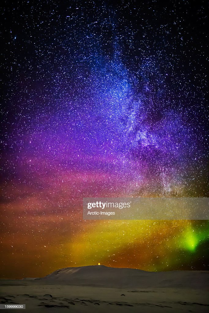 Milky way and aurora borealis iceland stock photo getty images