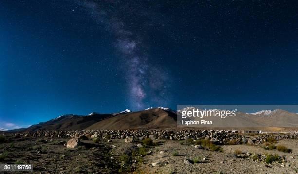 Milky way and Himalayas mountain range panorama