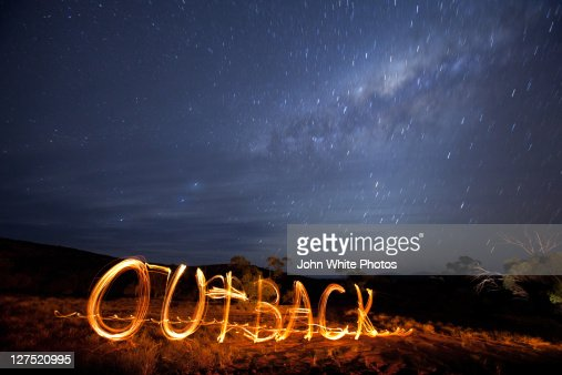 Milky Way and Outback written in fire