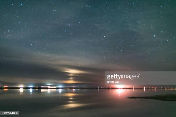 Milky way appearing at blue hour above mining railway track in Chaka Salt Lake on Qinghai-Tibetan Plateau, China