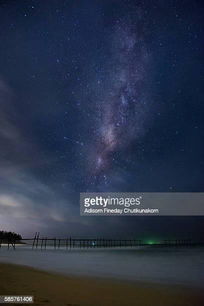 Milky Way galaxy at wooden bridge, Phang-Nga Province,