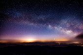 Milky Way Galaxy over Mountain at Night, Deogyusan mountain in South Korea.