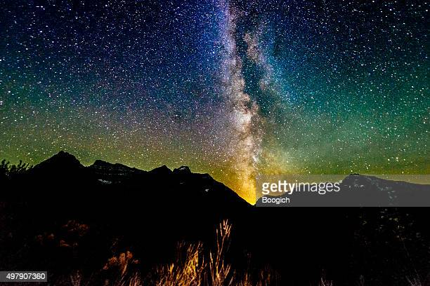 Milky Way Galaxy View Reynolds Mountain Glacier National Park Montana