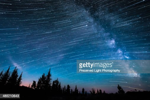 Milky way, hour-long time exposure, Osoyoos, British Columbia, Canada