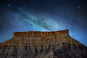 Milky Way stars in the night blue sky on a US rocky mountain