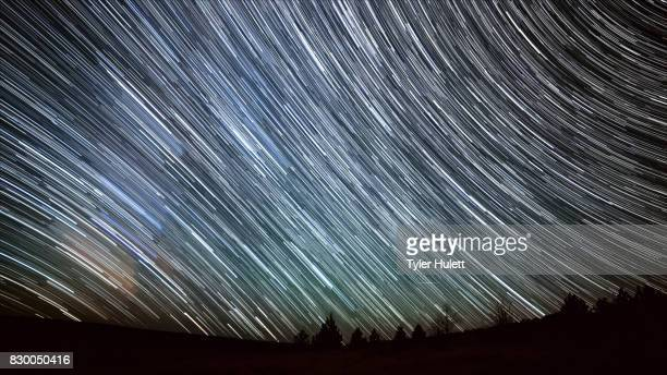 Milky Way in the Desert Night Sky Star Trails Over Oregon