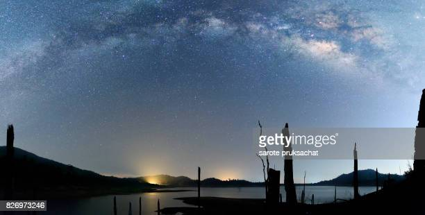 Milky Way Night sky scenes landscape Thailand. Long exposure photograph with grain