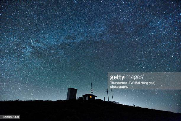 Milky way over a little house on a hill