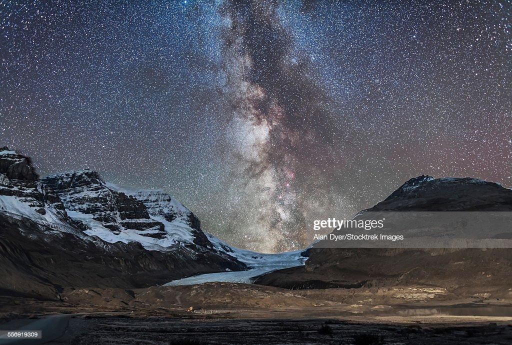 Milky Way over Athabasca Glacier in Jasper National Park, Canada.