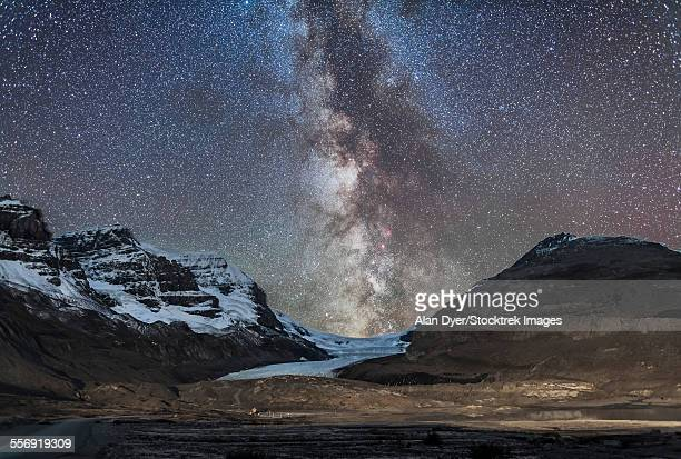 Milky Way over Athabasca Glacier in Jasper National Park, Canada.