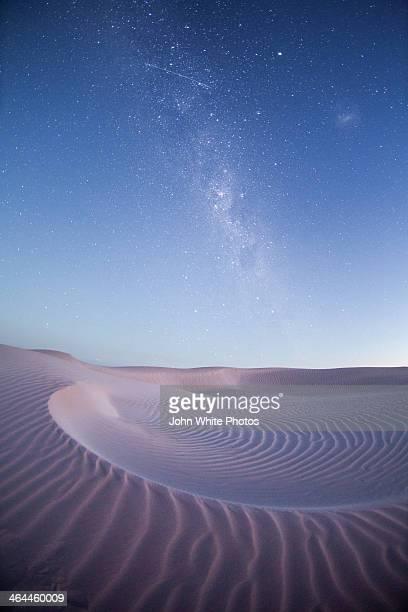 Milky Way over barren sand dunes. Australia.