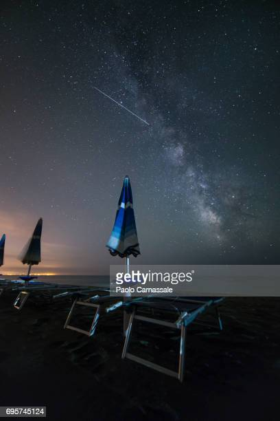 Milky way over coastline of Tyrrhenian sea, Italy