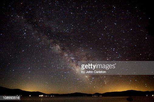 Milky Way over Lake Almanor : Stock Photo