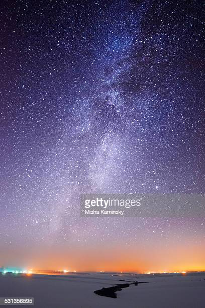 Milky Way over the country lights