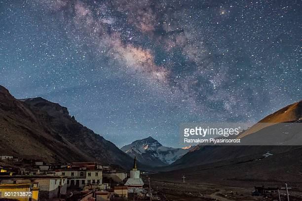 Milky way over the north face of Mt. Everest and Rongbuk monastery , Tibet