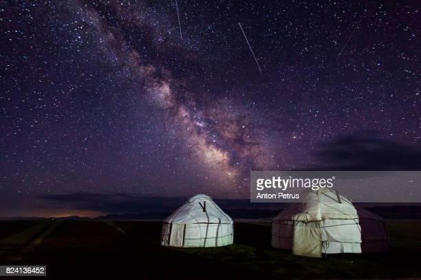 Milky Way over the yurts. Kyrgyzstan, Son-Kul lake