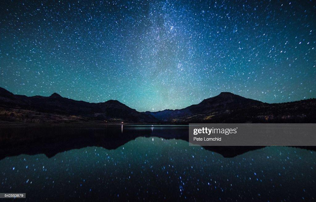 Milky Way reflection sence : Stock-Foto