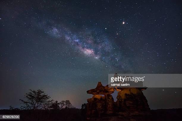 Milky Way rises over stone at Phu Pha Thoep National Park, Thailand