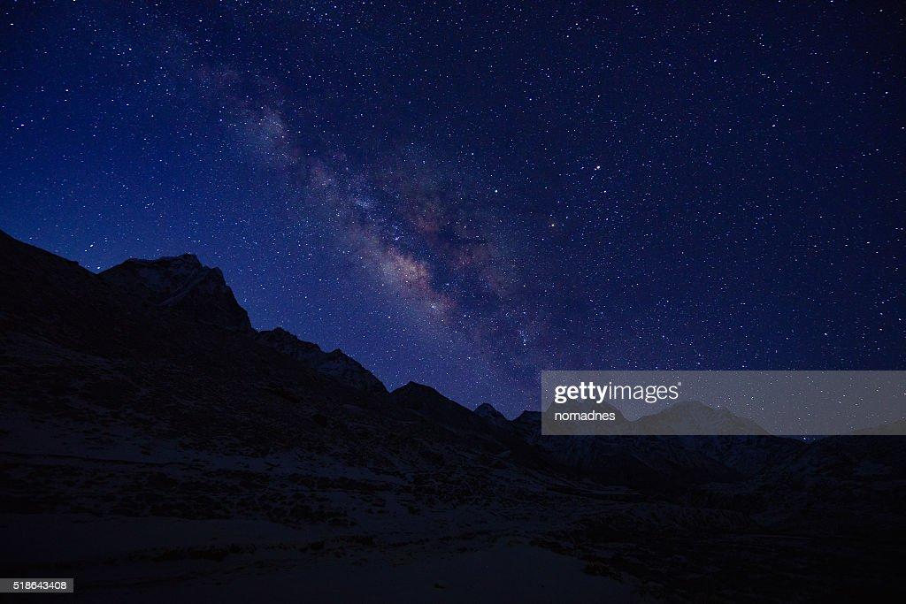 Milky way Top of Himalayan mountain range.